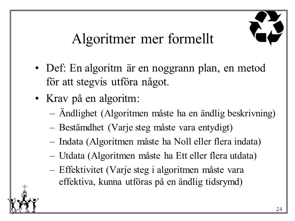 24 Algoritmer mer formellt Def: En algoritm är en noggrann plan, en metod för att stegvis utföra något. Krav på en algoritm: –Ändlighet (Algoritmen må