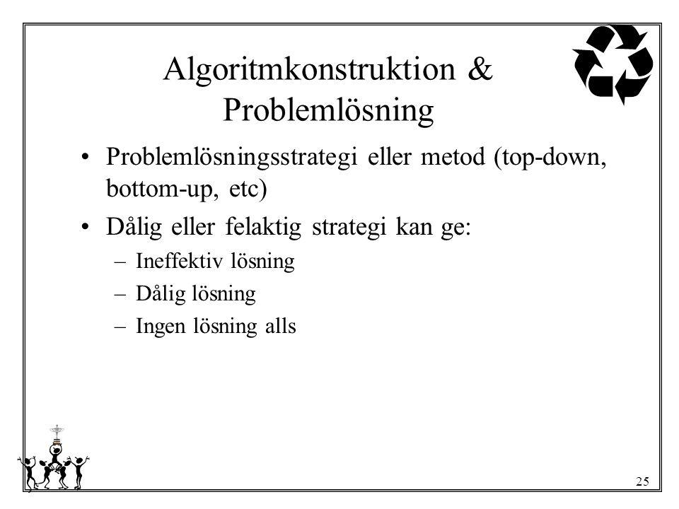 25 Algoritmkonstruktion & Problemlösning Problemlösningsstrategi eller metod (top-down, bottom-up, etc) Dålig eller felaktig strategi kan ge: –Ineffek