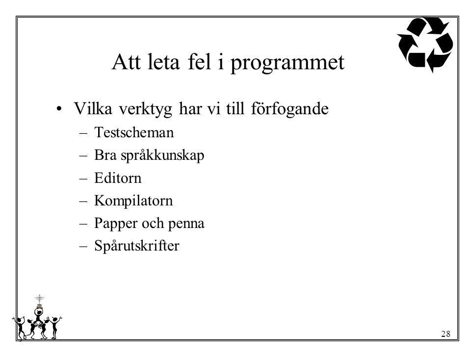 28 Att leta fel i programmet Vilka verktyg har vi till förfogande –Testscheman –Bra språkkunskap –Editorn –Kompilatorn –Papper och penna –Spårutskrift