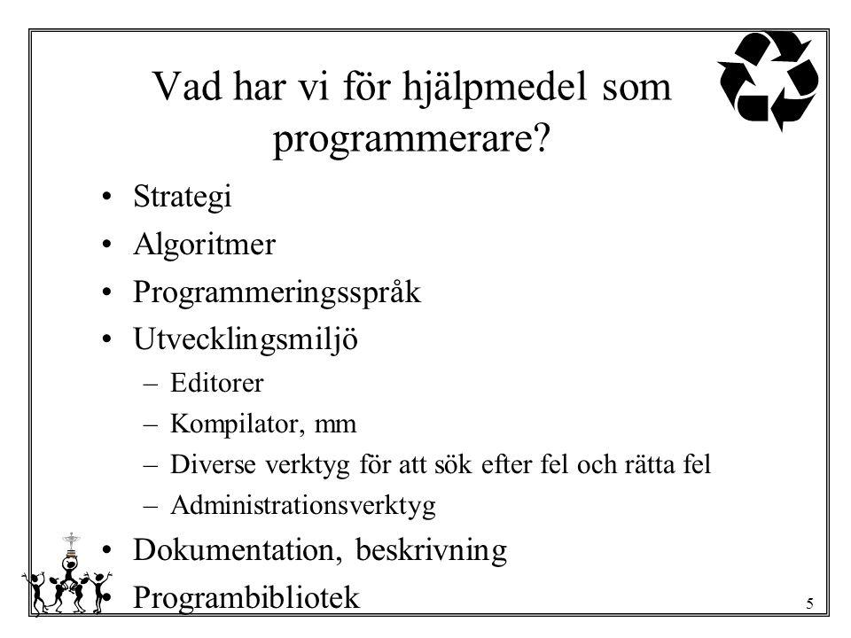 5 Vad har vi för hjälpmedel som programmerare? Strategi Algoritmer Programmeringsspråk Utvecklingsmiljö –Editorer –Kompilator, mm –Diverse verktyg för