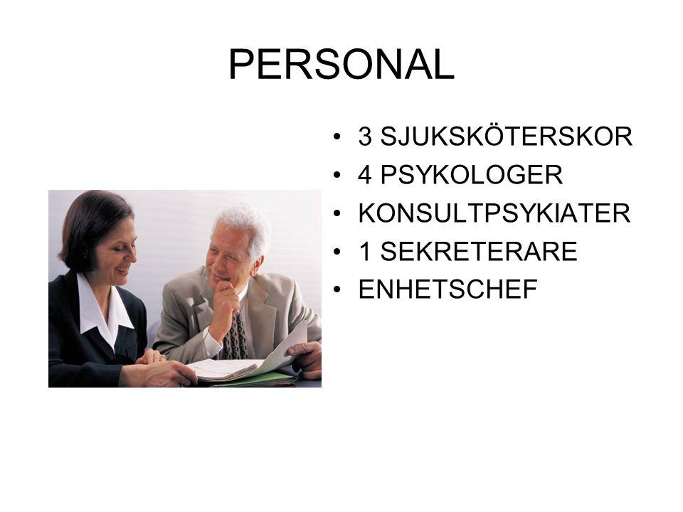 PERSONAL 3 SJUKSKÖTERSKOR 4 PSYKOLOGER KONSULTPSYKIATER 1 SEKRETERARE ENHETSCHEF