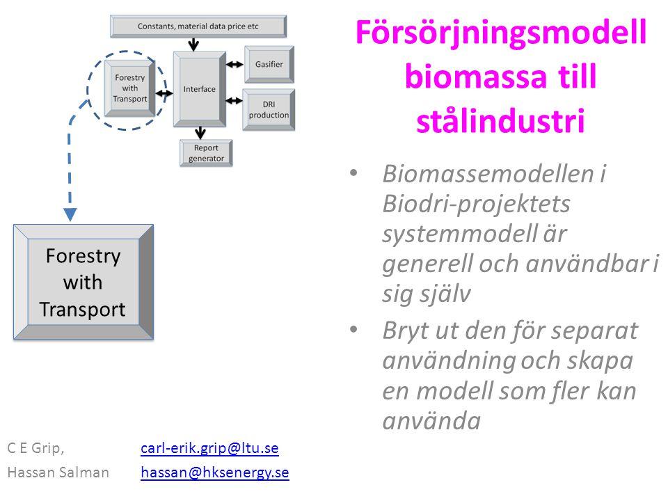 Försörjningsmodell biomassa till stålindustri Biomassemodellen i Biodri-projektets systemmodell är generell och användbar i sig själv Bryt ut den för separat användning och skapa en modell som fler kan använda C E Grip, carl-erik.grip@ltu.secarl-erik.grip@ltu.se Hassan Salman hassan@hksenergy.sehassan@hksenergy.se Forestry with Transport Forestry with Transport