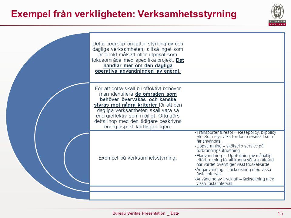 15 Bureau Veritas Presentation _ Date Exempel från verkligheten: Verksamhetsstyrning Detta begrepp omfattar styrning av den dagliga verksamheten, alltså inget som är direkt målsatt eller utpekat som fokusområde med specifika projekt.