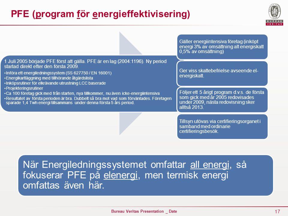 17 Bureau Veritas Presentation _ Date PFE (program för energieffektivisering) 1 Juli 2005 började PFE först att gälla. PFE är en lag (2004:1196). Ny p