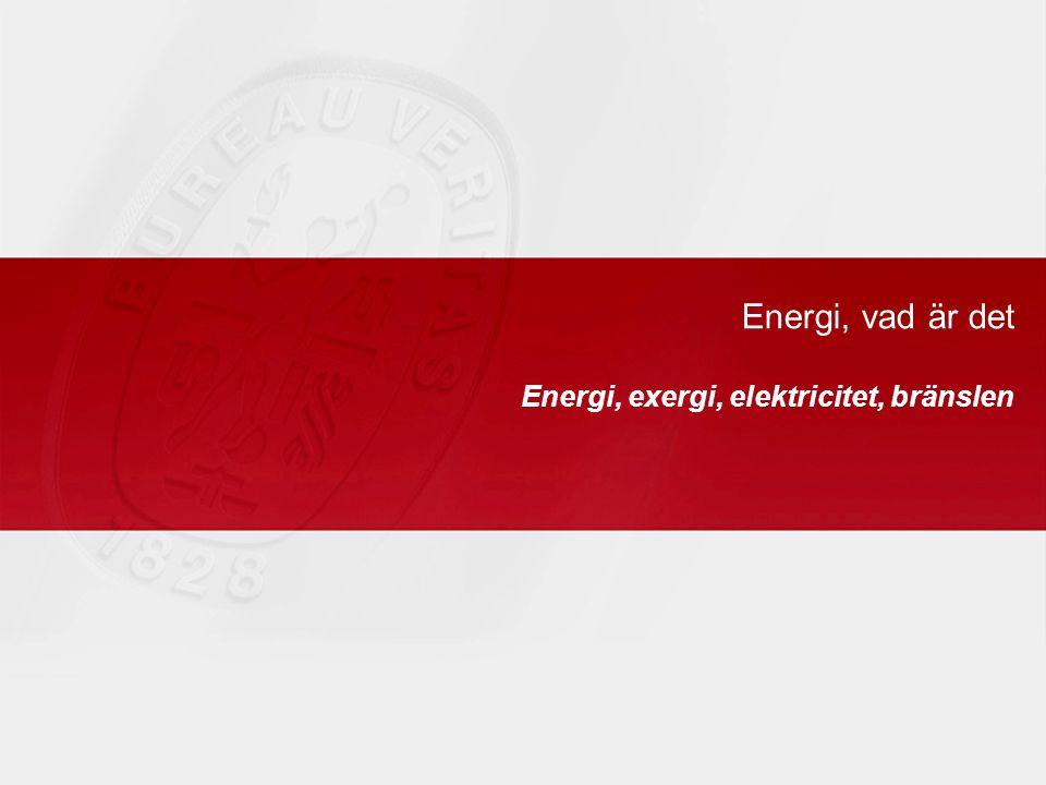 Energi, vad är det Energi, exergi, elektricitet, bränslen