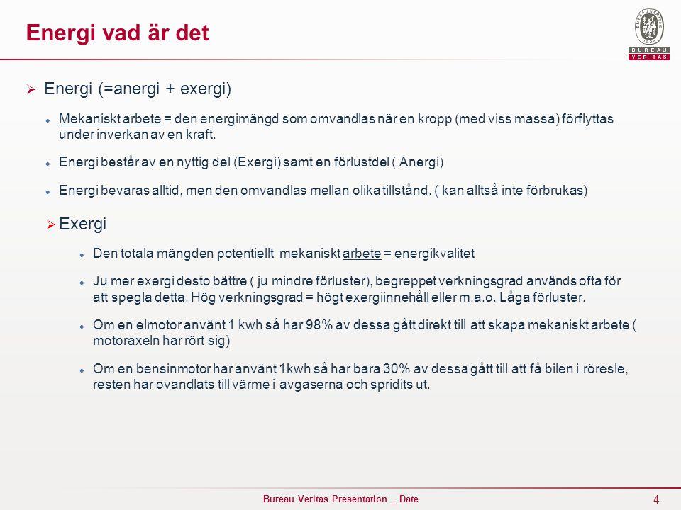 4 Bureau Veritas Presentation _ Date Energi vad är det  Energi (=anergi + exergi) Mekaniskt arbete = den energimängd som omvandlas när en kropp (med