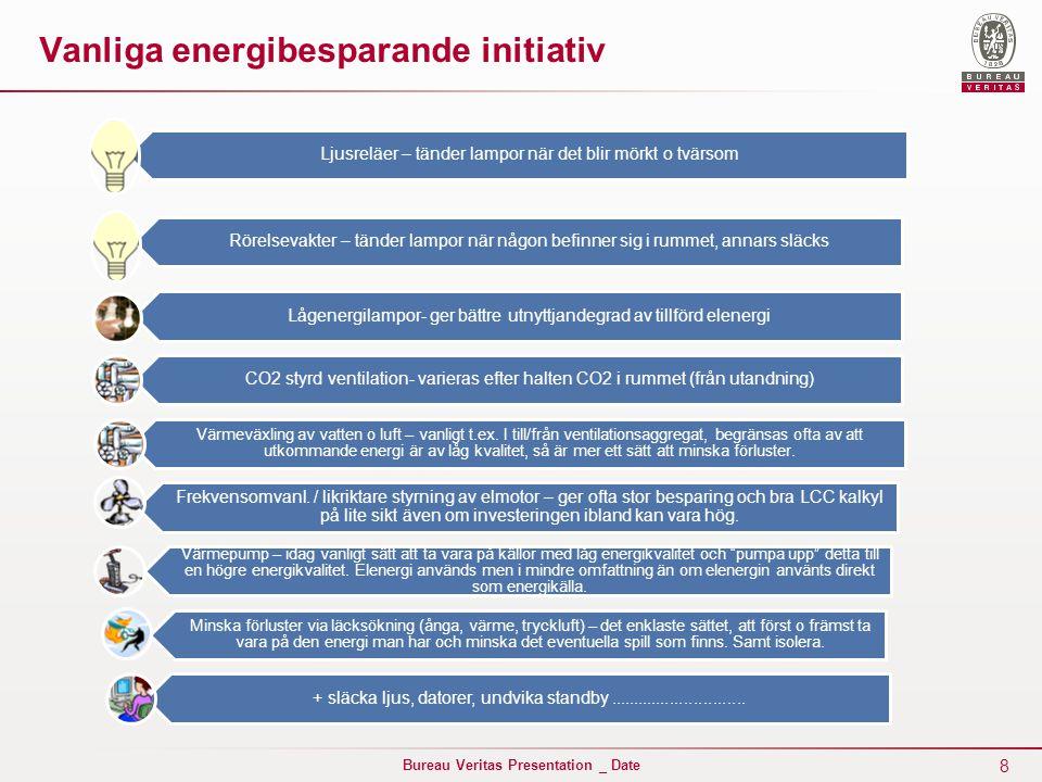 8 Bureau Veritas Presentation _ Date Vanliga energibesparande initiativ Ljusreläer – tänder lampor när det blir mörkt o tvärsom Rörelsevakter – tänder