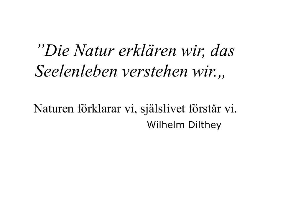 Naturen förklarar vi, själslivet förstår vi.