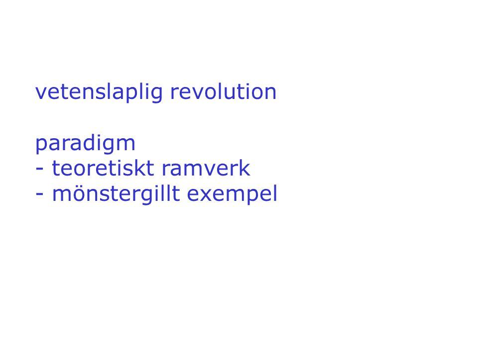 vetenslaplig revolution paradigm - teoretiskt ramverk - mönstergillt exempel