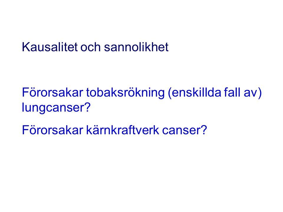 Kausalitet och sannolikhet Förorsakar tobaksrökning (enskillda fall av) lungcanser.