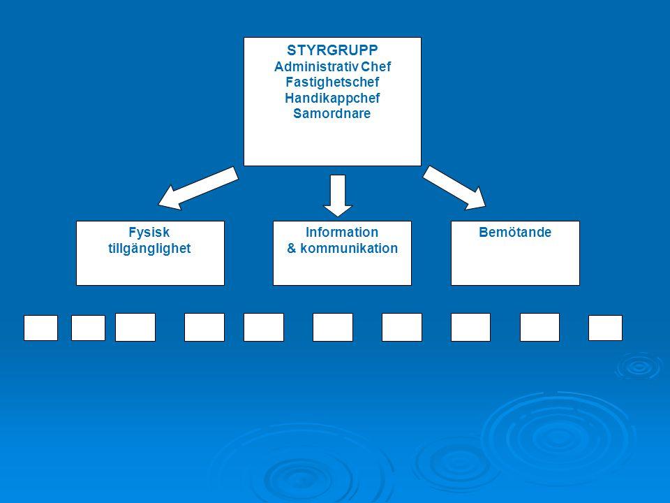 STYRGRUPP Administrativ Chef Fastighetschef Handikappchef Samordnare Fysisk tillgänglighet Information & kommunikation Bemötande