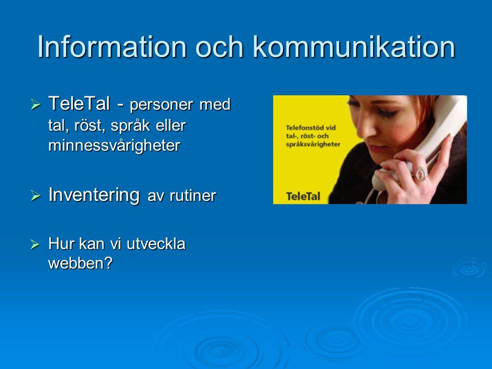 Information och kommunikation  TeleTal - personer med tal, röst, språk eller minnessvårigheter  Inventering av rutiner  Hur kan vi utveckla webben