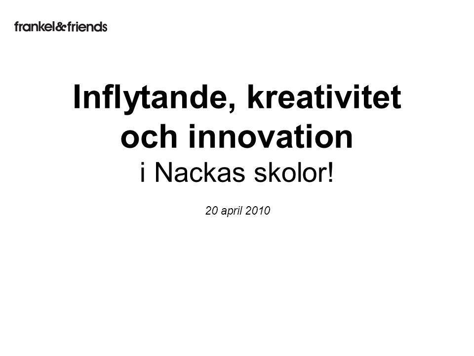 20 april 2010 Inflytande, kreativitet och innovation i Nackas skolor!