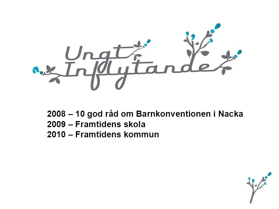 2008 – 10 god råd om Barnkonventionen i Nacka 2009 – Framtidens skola 2010 – Framtidens kommun