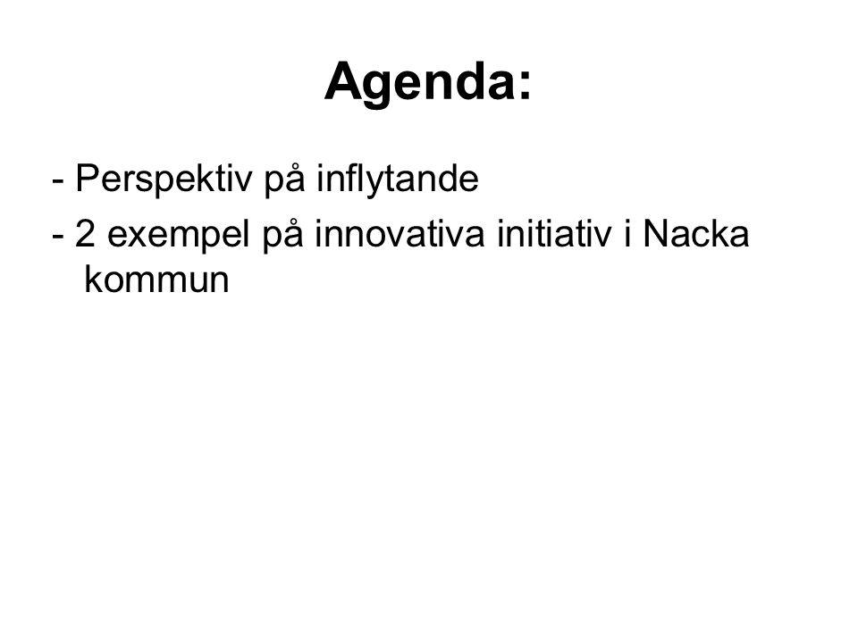 Agenda: - Perspektiv på inflytande - 2 exempel på innovativa initiativ i Nacka kommun