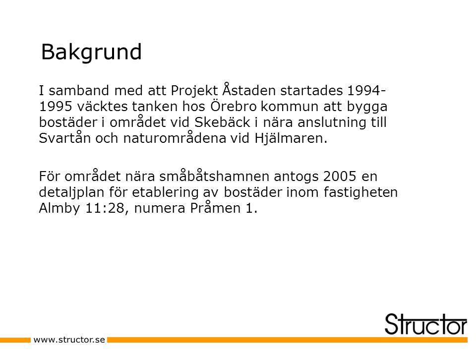 Bakgrund I samband med att Projekt Åstaden startades 1994- 1995 väcktes tanken hos Örebro kommun att bygga bostäder i området vid Skebäck i nära anslutning till Svartån och naturområdena vid Hjälmaren.