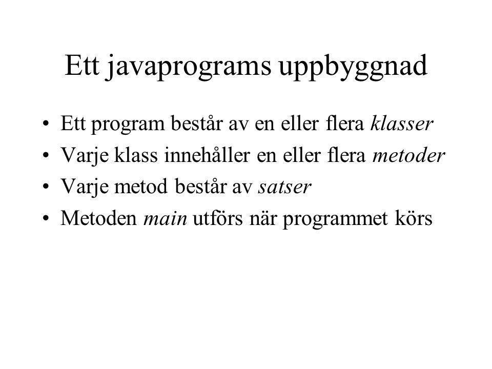 Ett javaprograms uppbyggnad Ett program består av en eller flera klasser Varje klass innehåller en eller flera metoder Varje metod består av satser Metoden main utförs när programmet körs