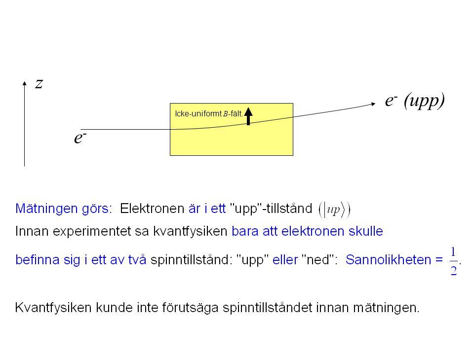 e-e- e - (upp) z Icke-uniformt B -fält.
