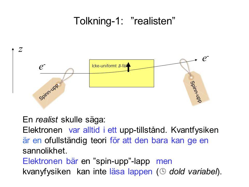 """Spinn-upp Tolkning-1: """"realisten"""" e-e- e-e- z En realist skulle säga: Elektronen var alltid i ett upp-tillstånd. Kvantfysiken är en ofullständig teori"""