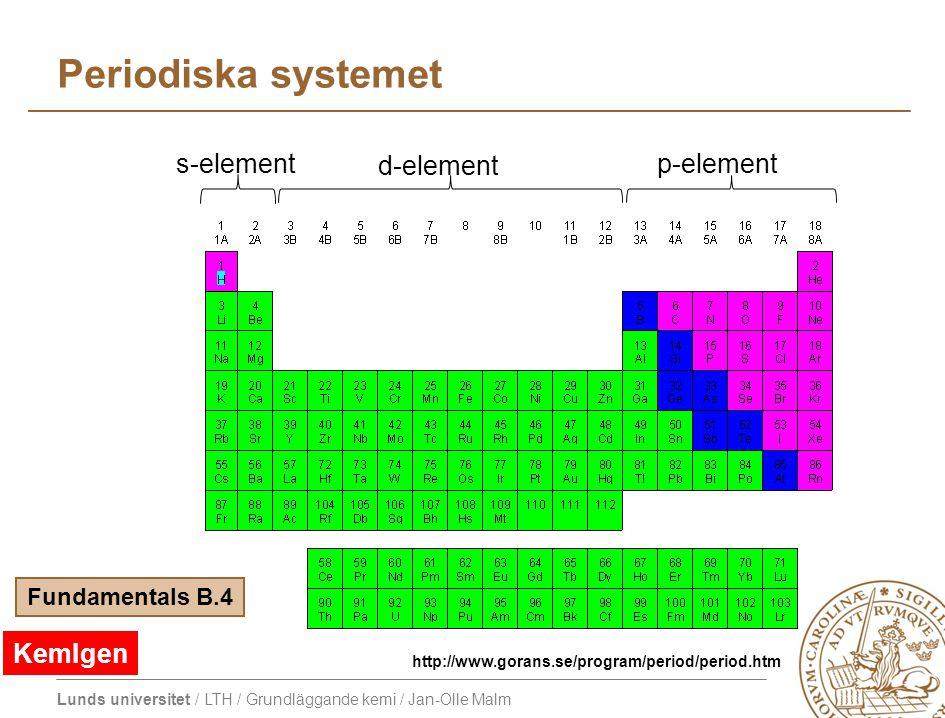 Lunds universitet / LTH / Grundläggande kemi / Jan-Olle Malm Periodiska systemet s-element d-element p-element Fundamentals B.4 http://www.gorans.se/p