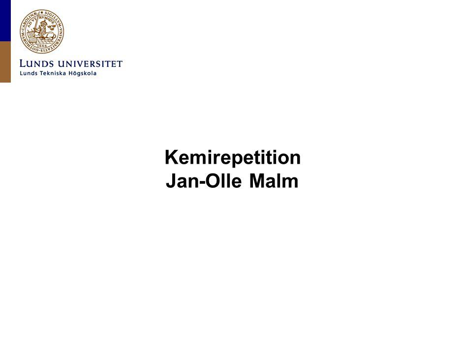 Lunds universitet / LTH / Grundläggande kemi / Jan-Olle Malm Mjukstart Repetition (onsdag 9.15-11.45 och torsdag 9.15-11) SI övningar torsdag 11.00-12.00 och 13.30-16.30 fredag 10.15-13.00 Kursstart måndag 2/9 10.15 i sal KC:A Kompendier 70 kr Prov torsdag 5/9 13-16 (Sparta) Periodiska systemet Nomenklatur Säkerhet (föreläsning+upprop måndag, ta med SICD) Formelskrivning Stökiometri