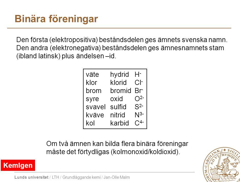 Lunds universitet / LTH / Grundläggande kemi / Jan-Olle Malm Binära föreningar väte hydrid H - klor klorid Cl - brom bromid Br - syre oxid O 2- svavel