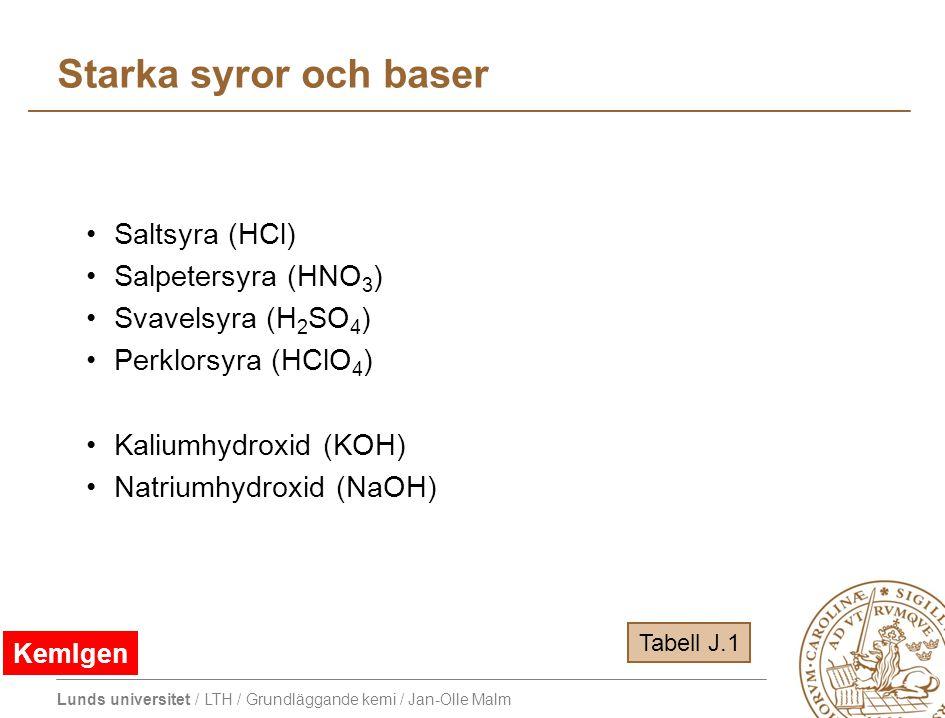 Lunds universitet / LTH / Grundläggande kemi / Jan-Olle Malm Starka syror och baser Saltsyra (HCl) Salpetersyra (HNO 3 ) Svavelsyra (H 2 SO 4 ) Perklo