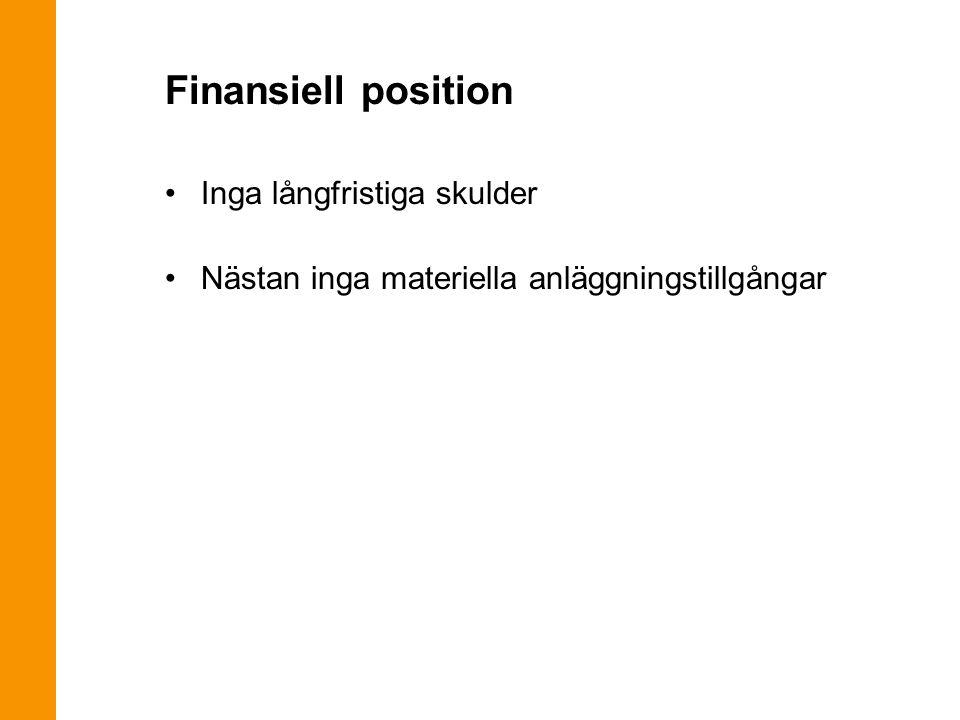 Finansiell position Inga långfristiga skulder Nästan inga materiella anläggningstillgångar