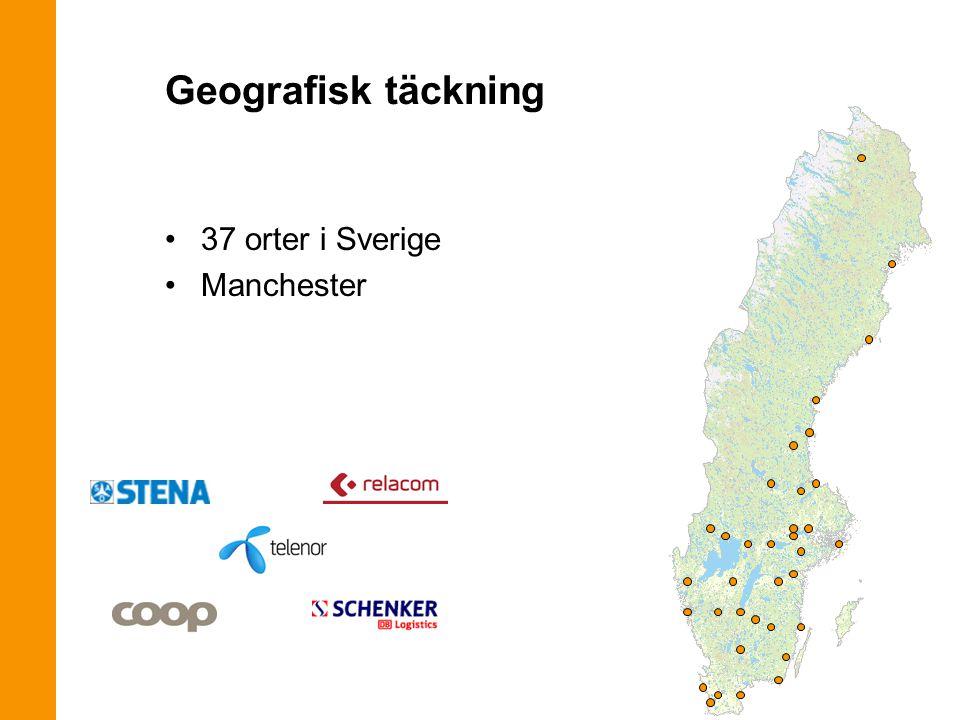 37 orter i Sverige Manchester Geografisk täckning