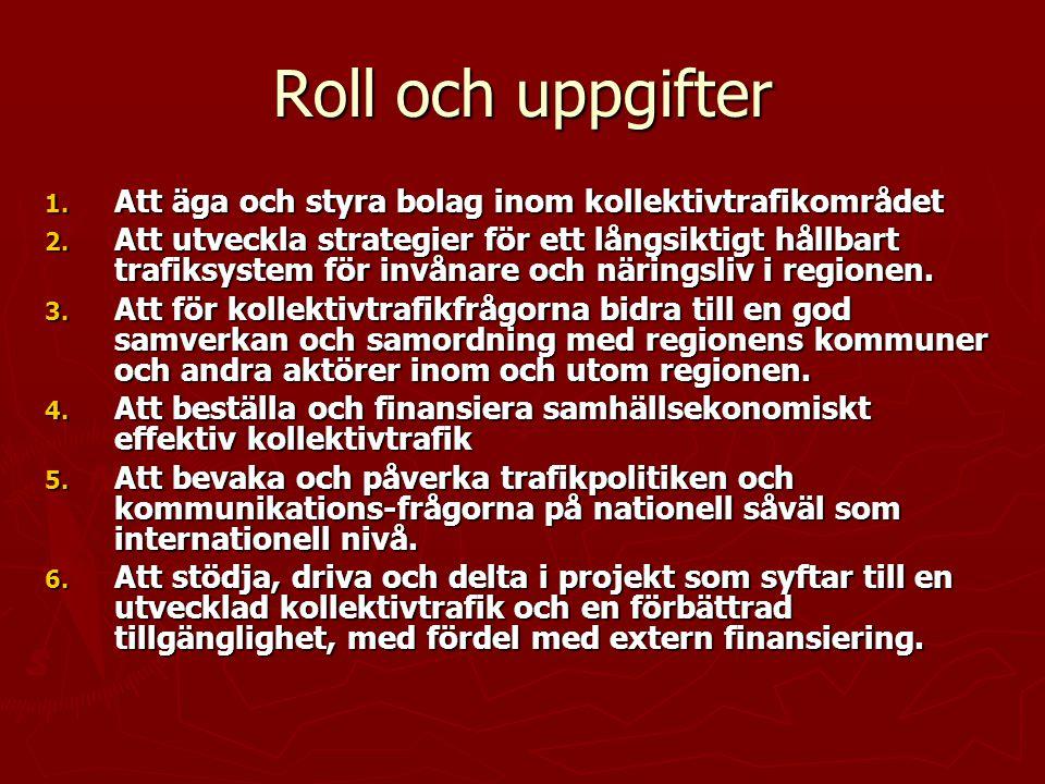 Roll och uppgifter 1. Att äga och styra bolag inom kollektivtrafikområdet 2. Att utveckla strategier för ett långsiktigt hållbart trafiksystem för inv
