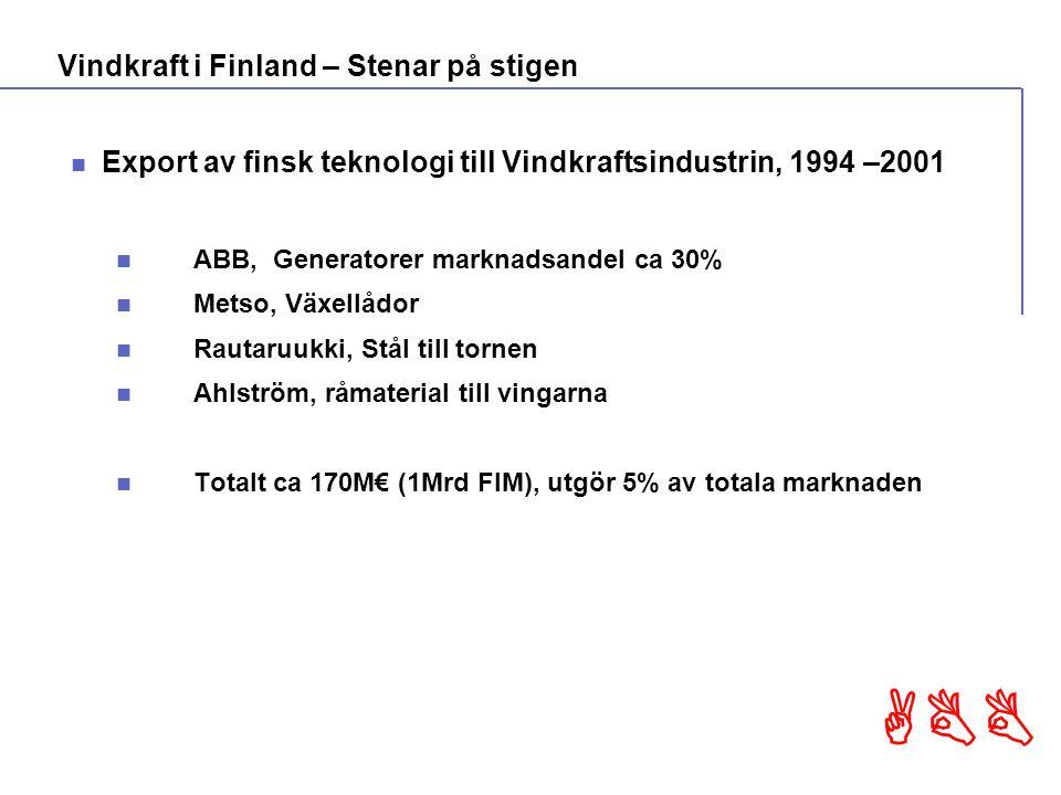 ABB Export av finsk teknologi till Vindkraftsindustrin, 1994 –2001 ABB, Generatorer marknadsandel ca 30% Metso, Växellådor Rautaruukki, Stål till tornen Ahlström, råmaterial till vingarna Totalt ca 170M€ (1Mrd FIM), utgör 5% av totala marknaden Vindkraft i Finland – Stenar på stigen