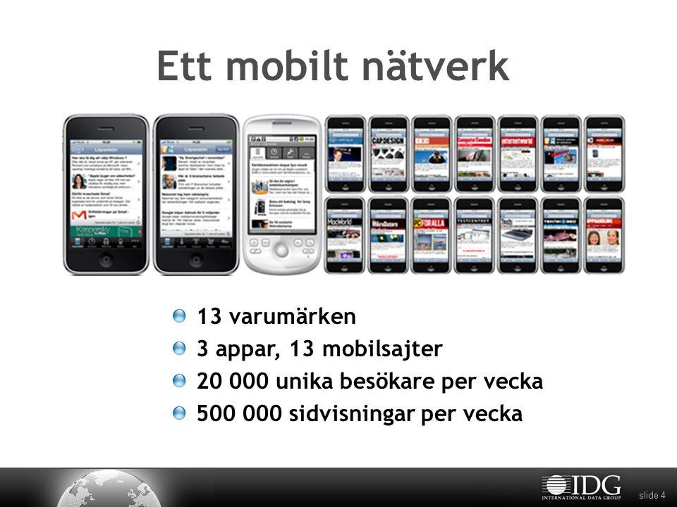 slide 4 Ett mobilt nätverk 13 varumärken 3 appar, 13 mobilsajter 20 000 unika besökare per vecka 500 000 sidvisningar per vecka