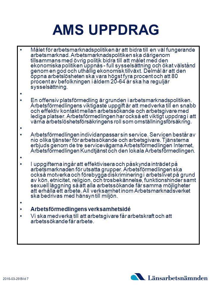 2015-03-29 Bild 7 AMS UPPDRAG Målet för arbetsmarknadspolitiken är att bidra till en väl fungerande arbetsmarknad. Arbetsmarknadspolitiken ska därigen