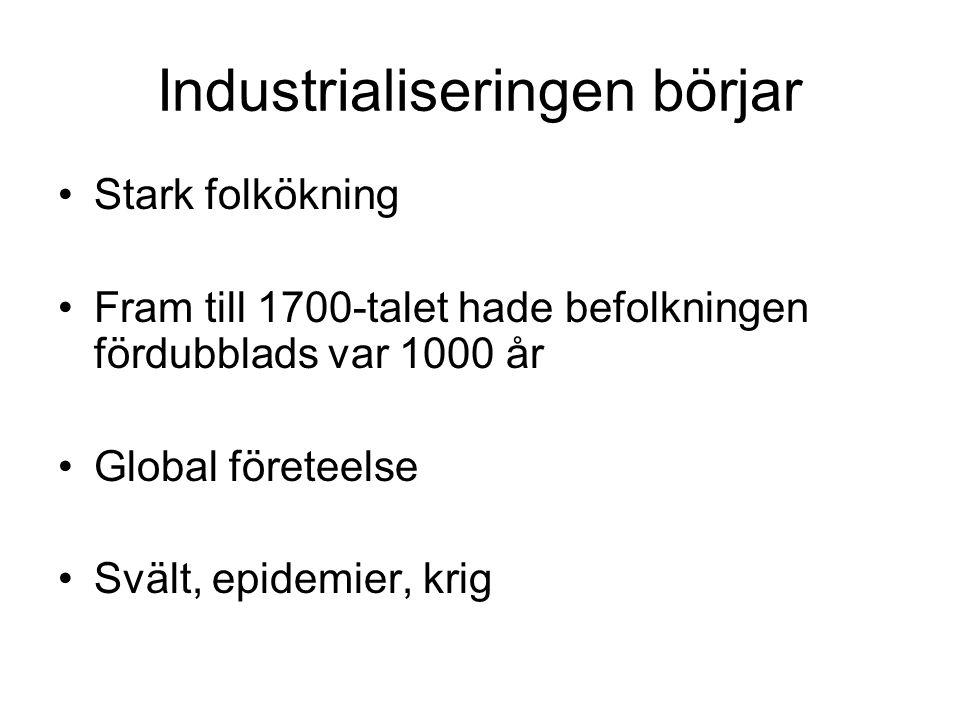 Industrialiseringen börjar Stark folkökning Fram till 1700-talet hade befolkningen fördubblads var 1000 år Global företeelse Svält, epidemier, krig
