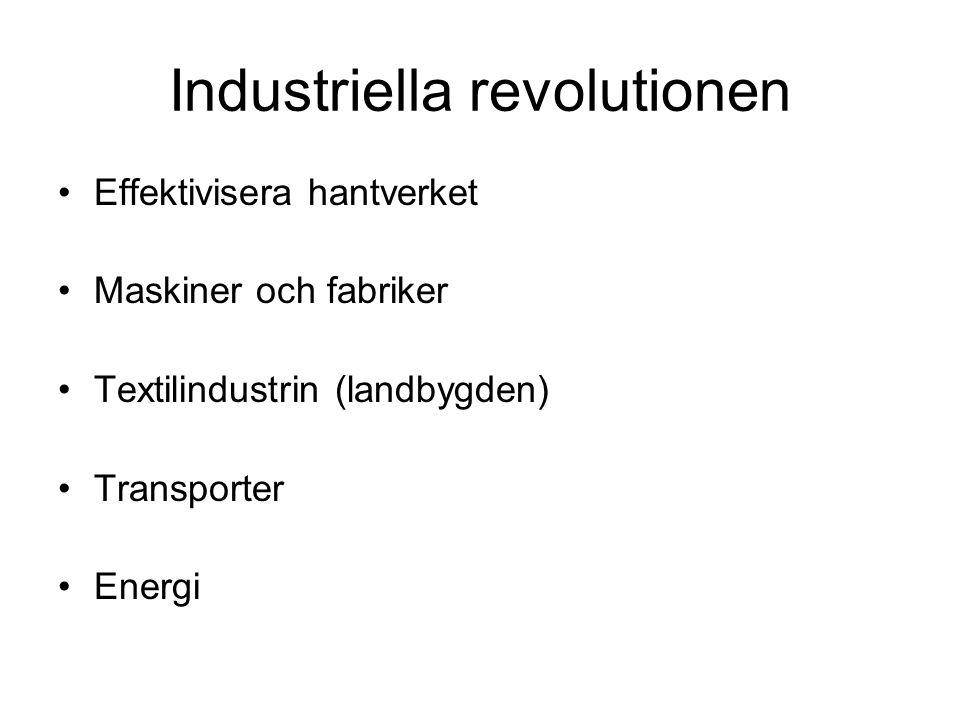 Industriella revolutionen Effektivisera hantverket Maskiner och fabriker Textilindustrin (landbygden) Transporter Energi