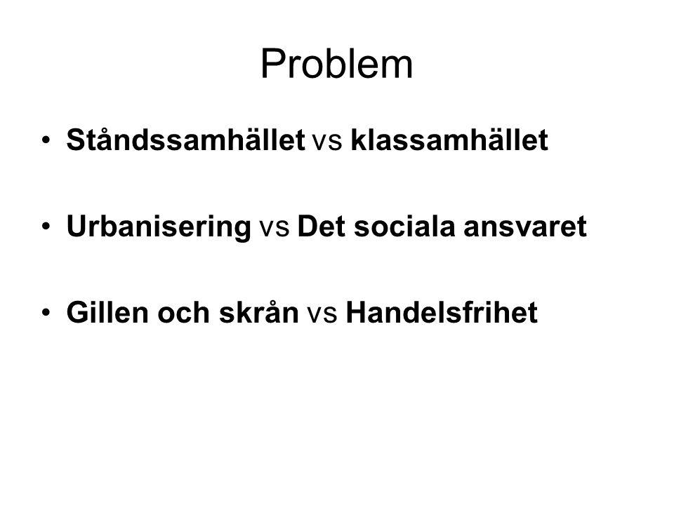 Problem Ståndssamhället vs klassamhället Urbanisering vs Det sociala ansvaret Gillen och skrån vs Handelsfrihet