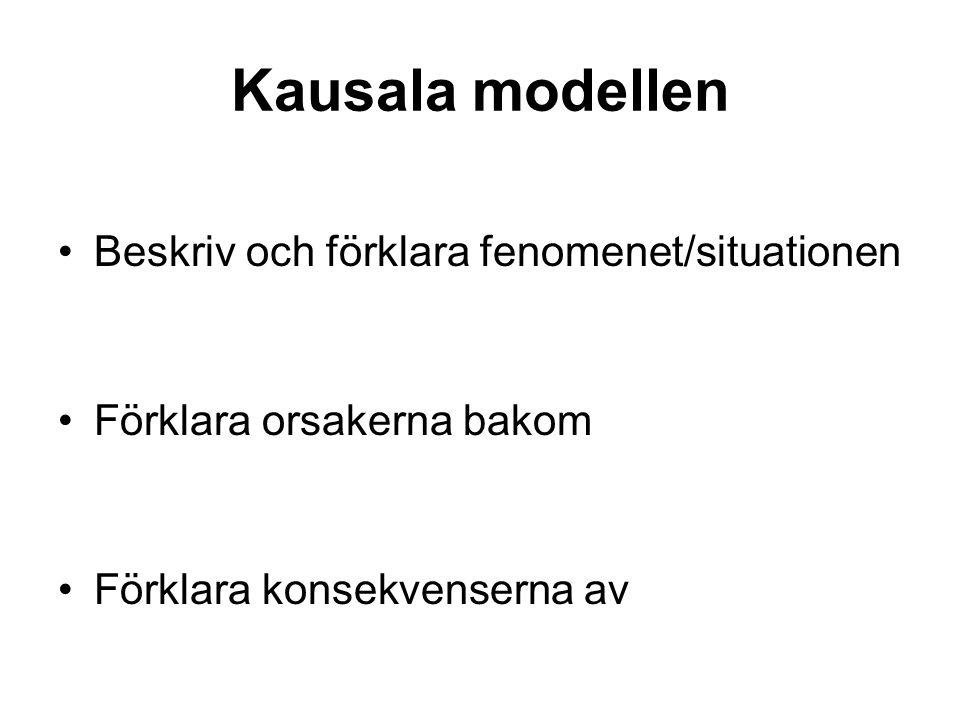 Kausala modellen Beskriv och förklara fenomenet/situationen Förklara orsakerna bakom Förklara konsekvenserna av