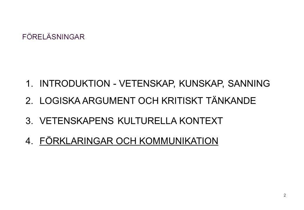2 1.INTRODUKTION - VETENSKAP, KUNSKAP, SANNING 2.LOGISKA ARGUMENT OCH KRITISKT TÄNKANDE 3.VETENSKAPENS KULTURELLA KONTEXT 4.FÖRKLARINGAR OCH KOMMUNIKATION FÖRELÄSNINGAR
