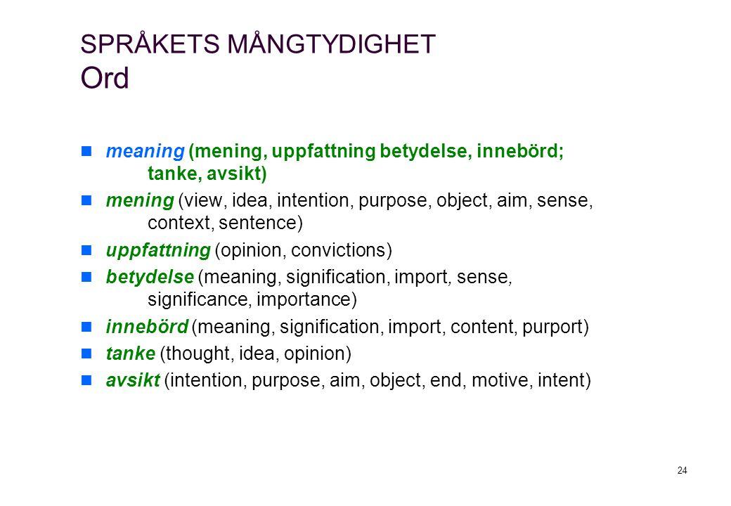 24 meaning (mening, uppfattning betydelse, innebörd; tanke, avsikt) mening (view, idea, intention, purpose, object, aim, sense, context, sentence) upp
