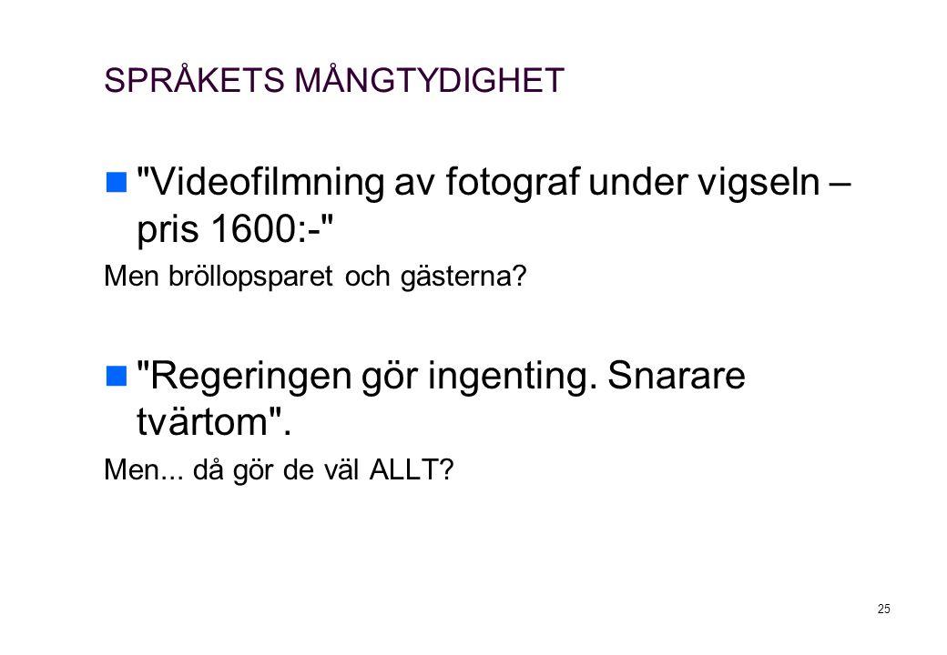 25 SPRÅKETS MÅNGTYDIGHET Videofilmning av fotograf under vigseln – pris 1600:- Men bröllopsparet och gästerna.
