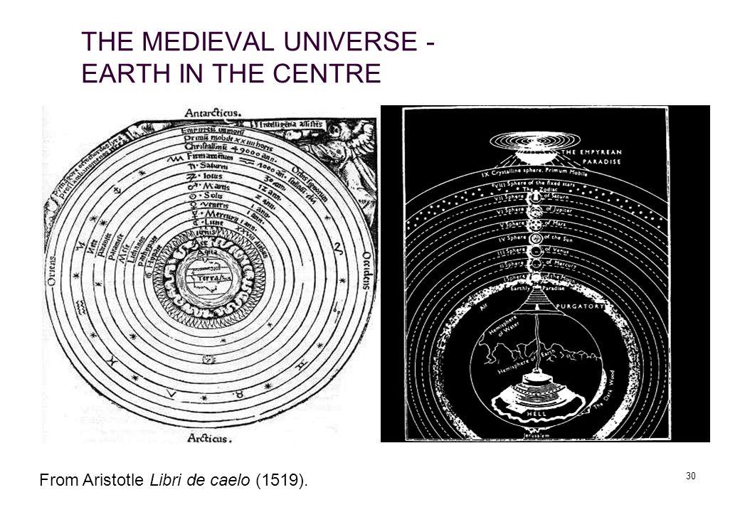 30 THE MEDIEVAL UNIVERSE - EARTH IN THE CENTRE From Aristotle Libri de caelo (1519).