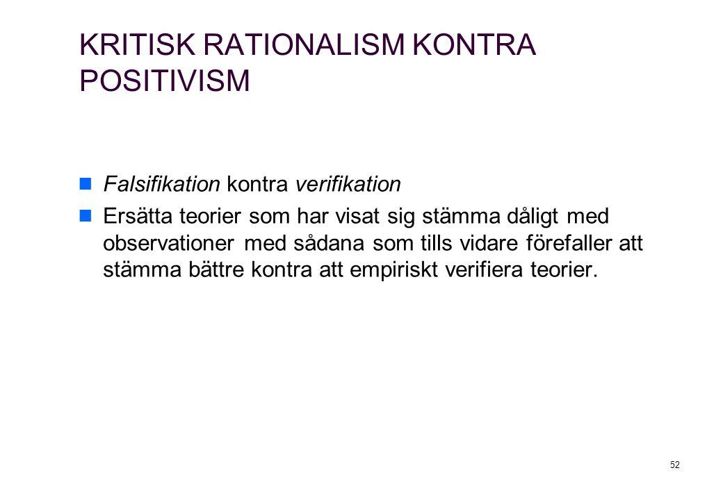 52 KRITISK RATIONALISM KONTRA POSITIVISM Falsifikation kontra verifikation Ersätta teorier som har visat sig stämma dåligt med observationer med sådana som tills vidare förefaller att stämma bättre kontra att empiriskt verifiera teorier.