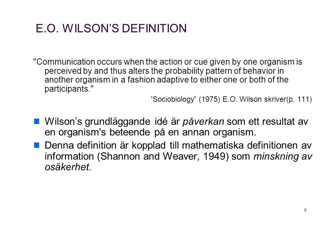 6 E.O. WILSON'S DEFINITION