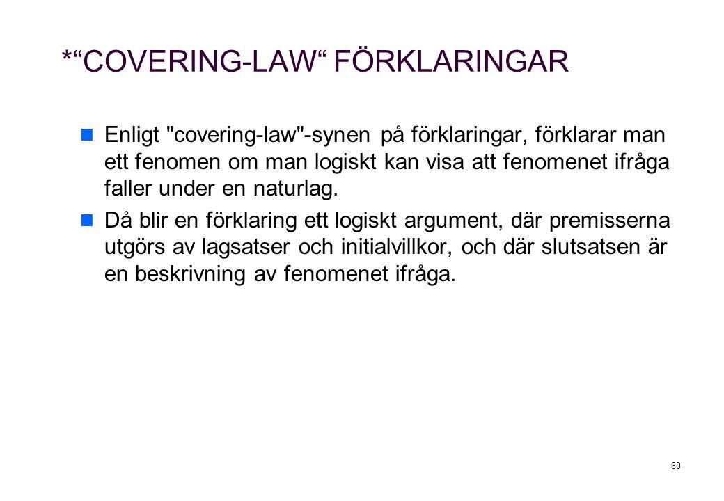 60 * COVERING-LAW FÖRKLARINGAR Enligt covering-law -synen på förklaringar, förklarar man ett fenomen om man logiskt kan visa att fenomenet ifråga faller under en naturlag.