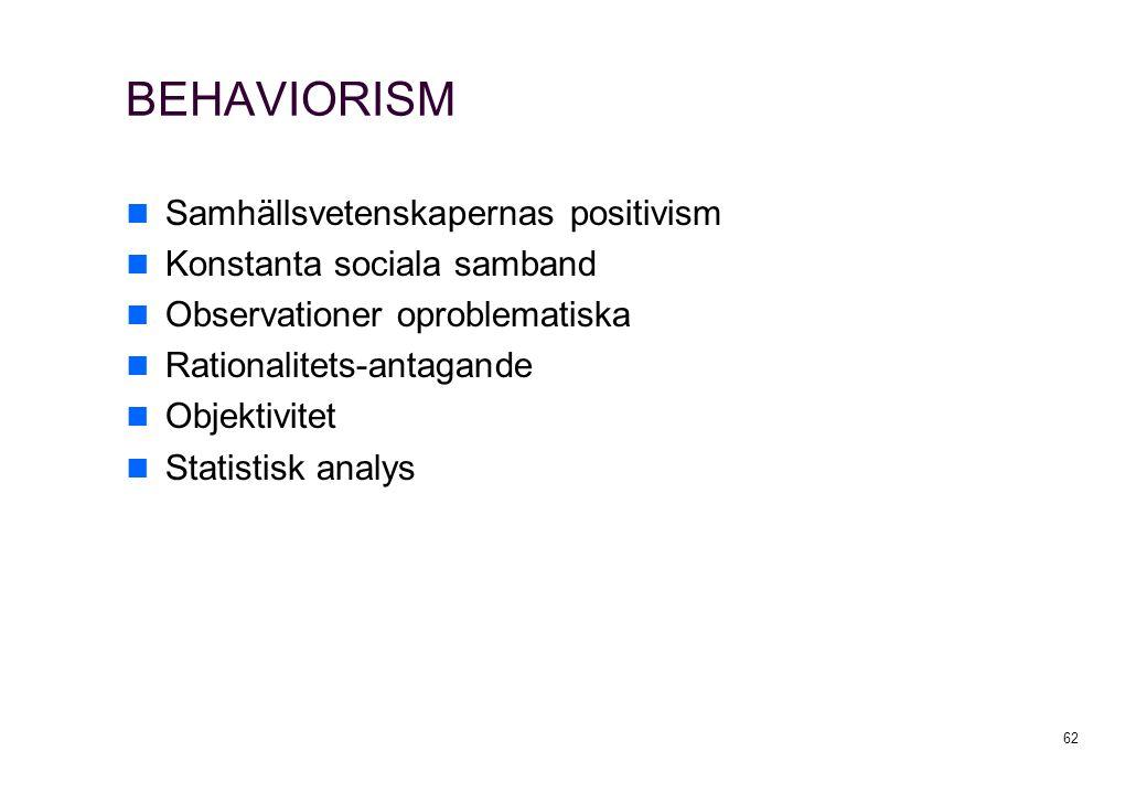 62 BEHAVIORISM Samhällsvetenskapernas positivism Konstanta sociala samband Observationer oproblematiska Rationalitets-antagande Objektivitet Statistis