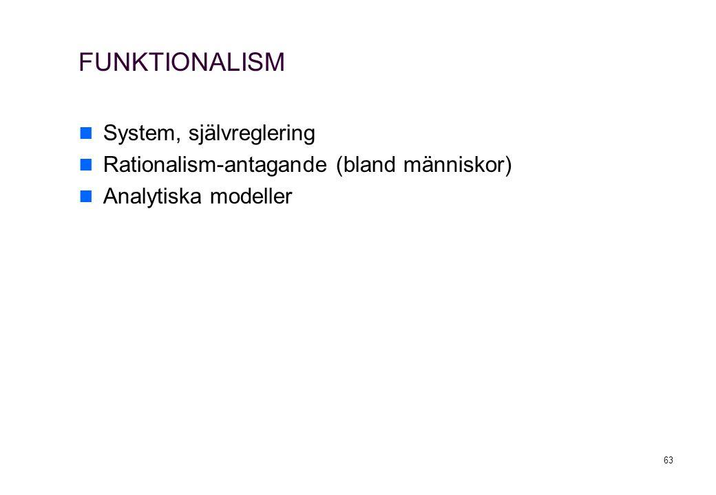 63 FUNKTIONALISM System, självreglering Rationalism-antagande (bland människor) Analytiska modeller