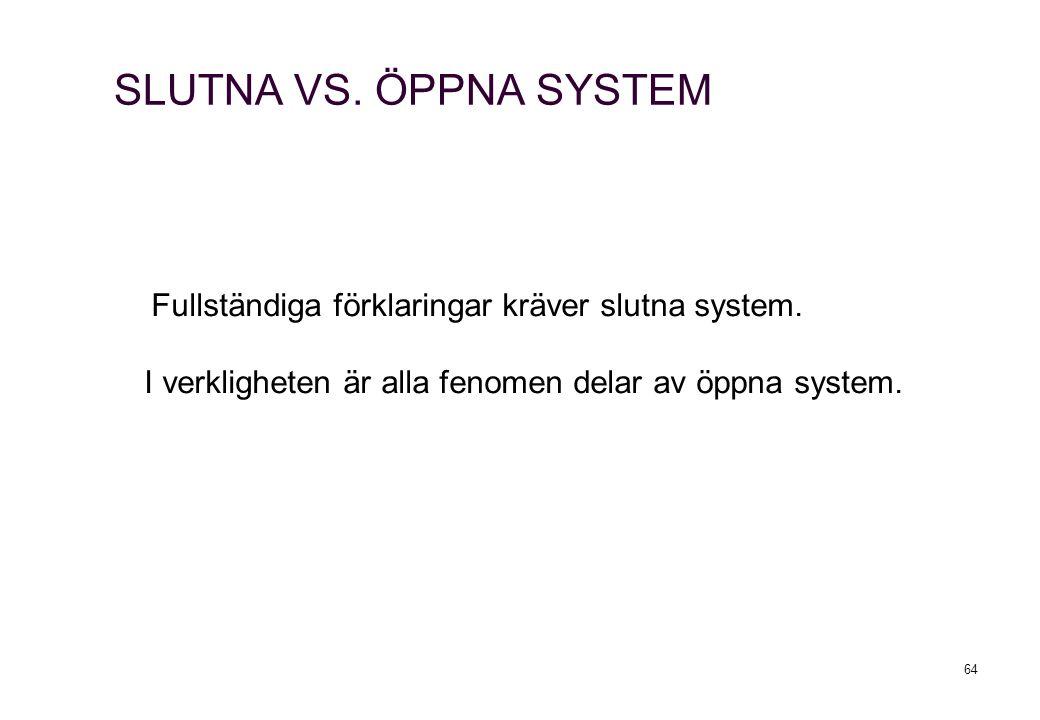 64 SLUTNA VS. ÖPPNA SYSTEM Fullständiga förklaringar kräver slutna system. I verkligheten är alla fenomen delar av öppna system.
