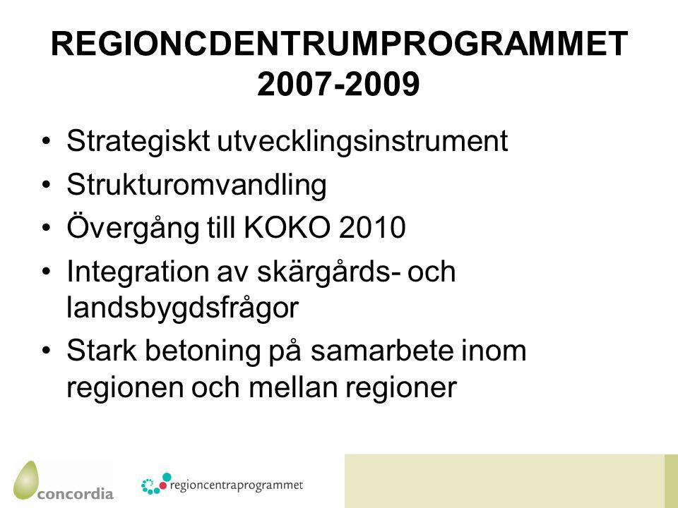REGIONCDENTRUMPROGRAMMET 2007-2009 Strategiskt utvecklingsinstrument Strukturomvandling Övergång till KOKO 2010 Integration av skärgårds- och landsbygdsfrågor Stark betoning på samarbete inom regionen och mellan regioner