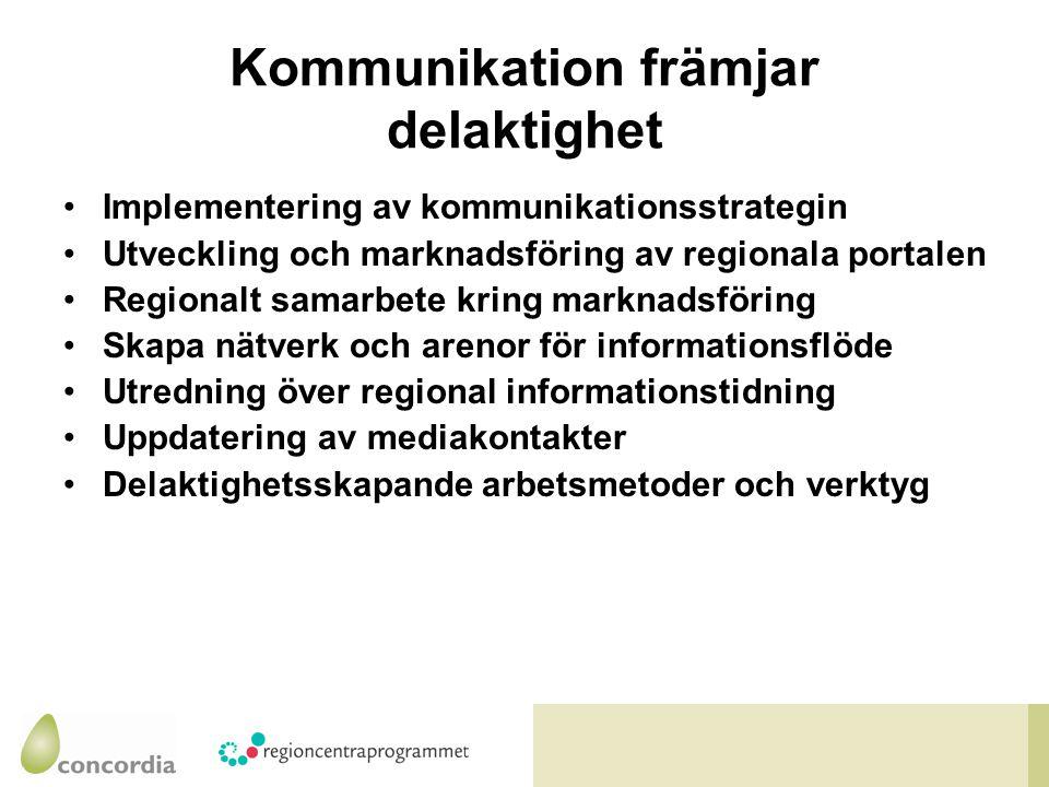 Kommunikation främjar delaktighet Implementering av kommunikationsstrategin Utveckling och marknadsföring av regionala portalen Regionalt samarbete kring marknadsföring Skapa nätverk och arenor för informationsflöde Utredning över regional informationstidning Uppdatering av mediakontakter Delaktighetsskapande arbetsmetoder och verktyg