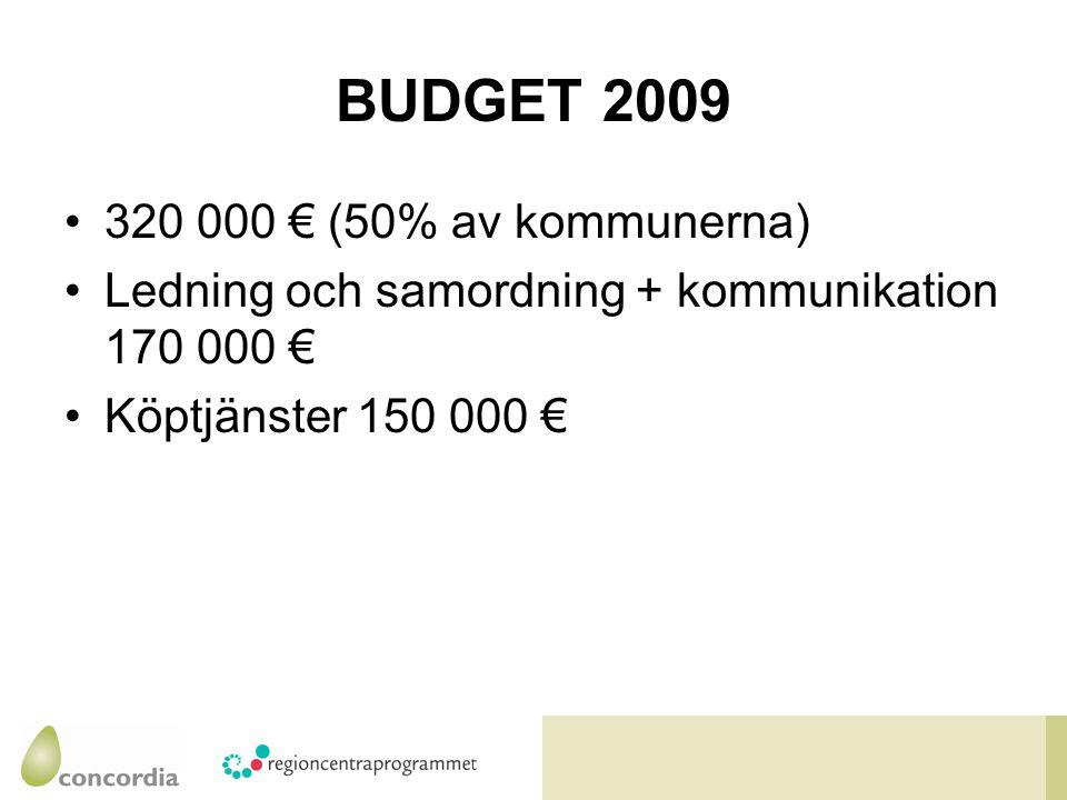 BUDGET 2009 320 000 € (50% av kommunerna) Ledning och samordning + kommunikation 170 000 € Köptjänster 150 000 €